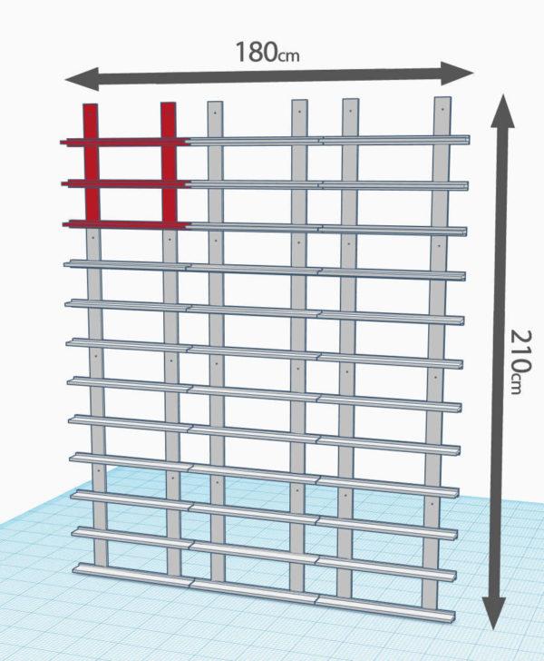 4 lignes de 3 modules