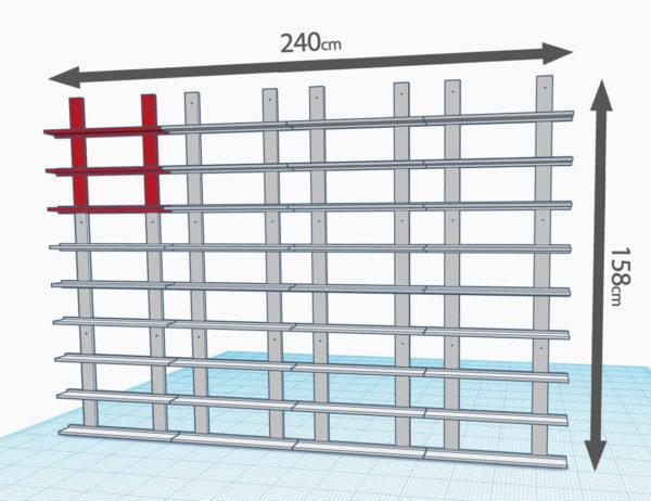 3 lignes de 4 modules