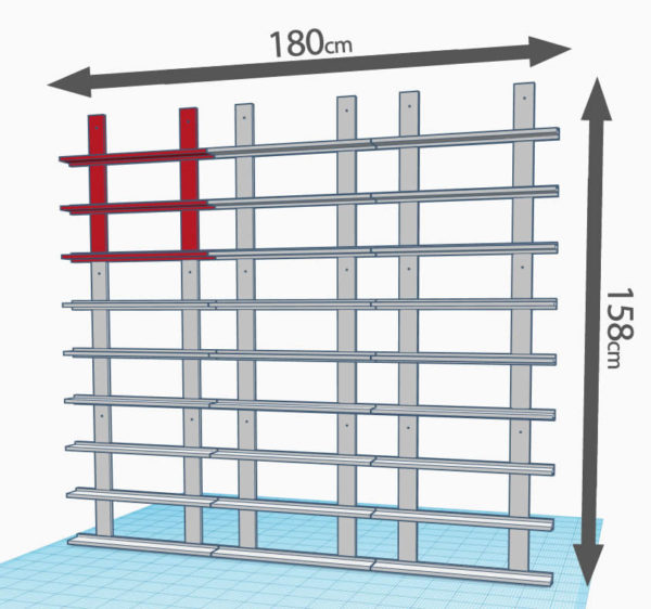 3 lignes de 3 modules